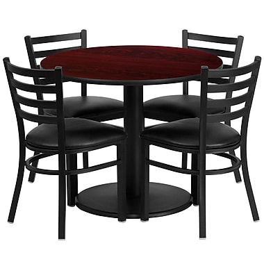 Flash Furniture 36'' Round Mahogany Laminate Table Set with Round Base and 4 Ladder Back Metal Chairs, Black Vinyl Seat