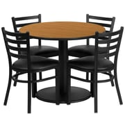 Flash Furniture 36'' Round Natural Laminate Table Set with Round Base and 4 Ladder Back Metal Chairs, Black Vinyl Seat