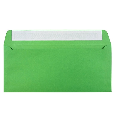 JAM Paper® #10 Business Envelopes, Peel and Seal Closure, 4 1/8 x 9 1/2, Brite Hue Christmas Green Recycled, 500/box (86555H)