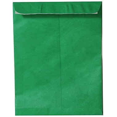 JAM Paper® 10 x 13 Tyvek Envelopes, Catalog Open End with Self Adhesive Closure, Green, 25/pack (V021379)