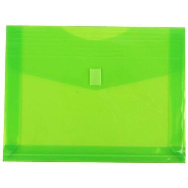 JAM Paper® Plastic Envelopes, VELCRO® Brand Closure, 1 Expansion, Letter Booklet, 9.75x13, Lime Green, 6/pack (218V2LI)