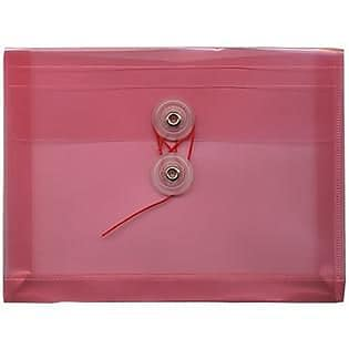 JAM Paper® Plastic Envelopes with Button and String Tie Closure, Index Booklet, 5.25 x 7.5, Pink Poly, 12/pack (920B1PI)