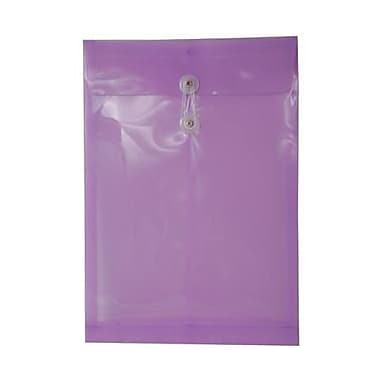 JAM Paper® Plastic Envelopes, Button and String Tie Closure, Legal Open End, 9.75 x 14.5, Lilac Purple Poly, 12/pack (119B1LI)