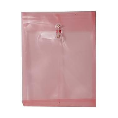 JAM Paper® Plastic Envelopes with Button and String Tie Closure, Letter Open End, 9.75 x 11.75, Pink Poly, 12/pack (118B1PI)