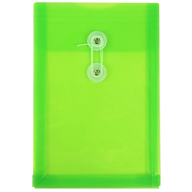 JAM Paper® Plastic Envelopes with Button and String Tie Closure, Open End, 6.25 x 9.25, Lime Green Poly, 12/pack (472B1LI)