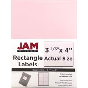 JAM Paper® Mailing Address Labels, 3 1/3 x 4, Baby Pink, 120/pack (4052899)