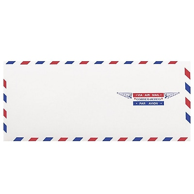 JAM Paper® Airmail #10 Envelopes, 4 1/8 x 9 1/2, 100/pack (A35532C)