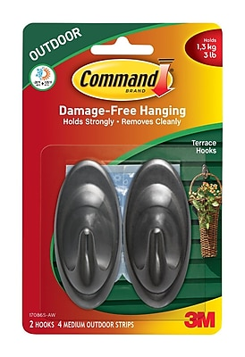 Command™ Outdoor Medium Slate Terrace Hooks, 2/Pack (17086SAW)