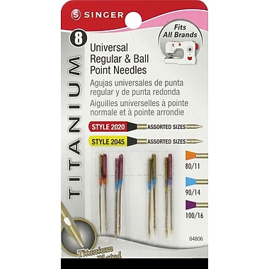 Singer Universal & Ball Point Machine Needles, Assorted Sizes, 8/Pack