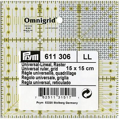 Omnigrid Metric Quilter's Ruler, 15cm X 15cm W/Grid