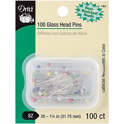 Dritz Glass Head Pins, Size 20, 100/Pack
