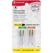 Singer Ball Point Machine Needles, Assorted Sizes, 4/Pack