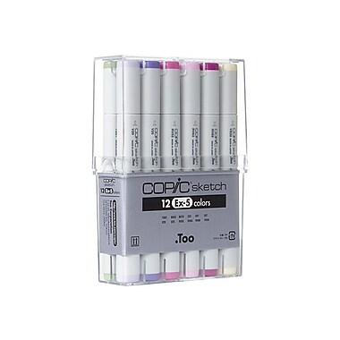 Copic EX-5 Fine Point Sketch Marker, Assorted, 12/Pack
