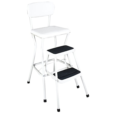 Cosco Products Cosco White Retro Counter Chair / Step Stool with Pull-out Steps, BRIGHT WHITE/BRIGHT WHITE