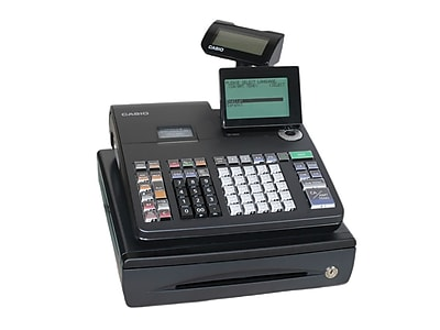 Casio® Electronic Cash Registers, Single Tape Thermal Unit with 10-line LCD Operator/2-Line Customer Displays