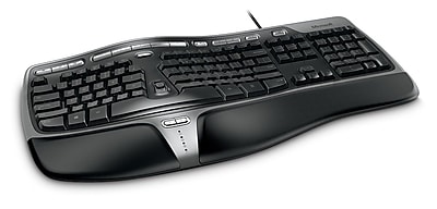 Microsoft® Natural Ergonomic Keyboard 4000 for Business, Ergonomic Wired Keyboard, Black (5QH-00001)
