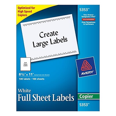 Avery Copier Full Sheet Shipping Labels, 8-1/2