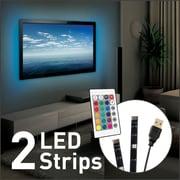 "Barkan USB Multi Color Mood Light for TV, 2 x 19.7"" LED Strips (L15)"