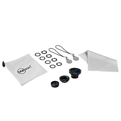 Acesori LensKit Smartphone Camera 5 piece kit w/ 3 Lenses + Microfiber Cloth + Carrying Pouch - Jet Black