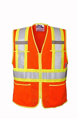 Open Road Zipper Safety Vest Orange (U6112O-M)