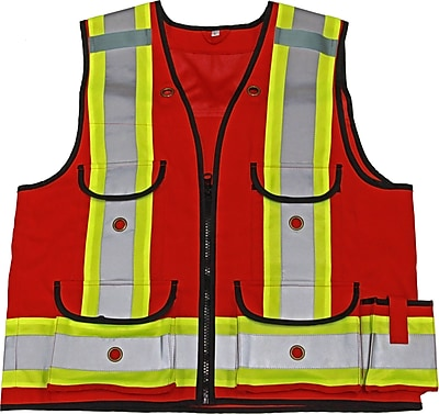 Viking Professional All Trades 1000D Surveyor Safety Vest Red (4915R-XL)