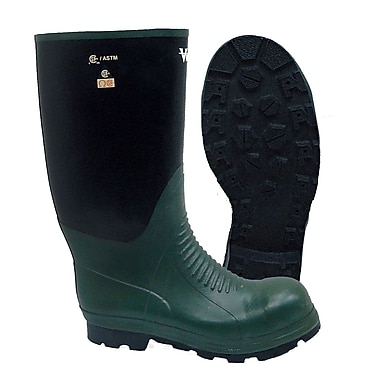 Viking Journeyman NBR Rubber Safety Boot, ASTM F2413-11 Steel Toe, Steel Plate, Green and Black (VW8-3-13)