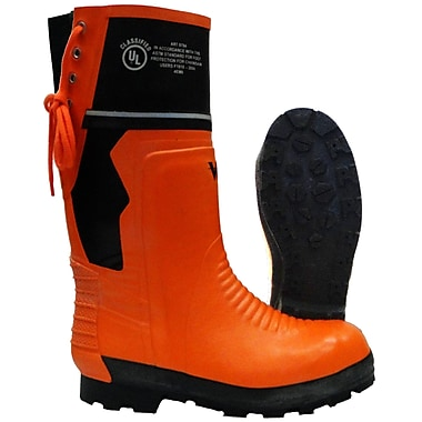 Viking Timberwolf Chainsaw Protection Lug Sole Boot, ASTM F2413-11 Steel Toe, Steel Plate, NBR Rubber, Orange and Black Size: 8