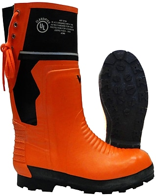 Viking Timberwolf Chainsaw Protection Lug Sole Boot, ASTM F2413-11 Steel Toe, Steel Plate, NBR Rubber, Orange and Black Size: 14