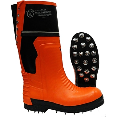 Viking Timberwolf Chainsaw Protection Caulked Sole Boot, ASTM F2413-11 Steel Toe, Steel Plate, NBR Rubber, Orange and B Size: 14