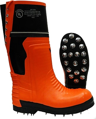 Viking Timberwolf Chainsaw Protection Caulked Sole Boot, ASTM F2413-11 Steel Toe, Steel Plate, NBR Rubber, Orange and B Size: 6