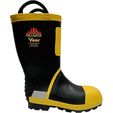 Viking Firefighter Felt Lined NFPA 1971-2013, ASTM F2413-11 Steel Toe, Steel Plate, NBR Rubber, Yellow and Black (VW90-13)