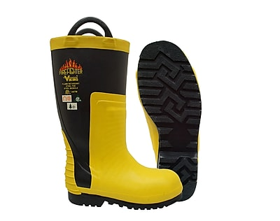 Viking Firefighter Felt Lined NFPA 1971-2013, ASTM F2413-11 Steel Toe, Steel Plate, Chainsaw Protection, Yllw/Blk Size: 8