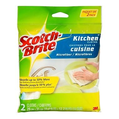 Scotch-BriteMC – Chiffon de cuisine en microfibre, blanc, 2/paquet