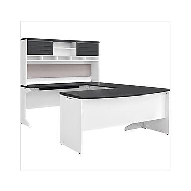 Altra Pursuit U-Shaped Desk with Hutch Bundle, White/Gray