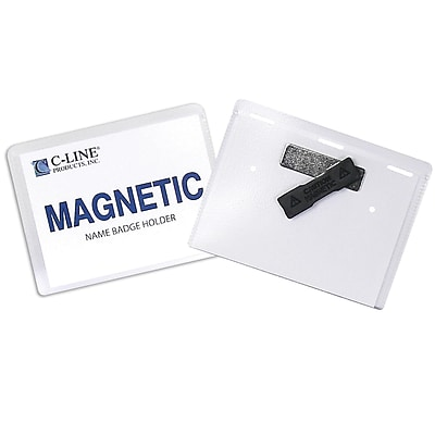C-Line Name Badge Holder Kits, Magnetic, Top Load, 3