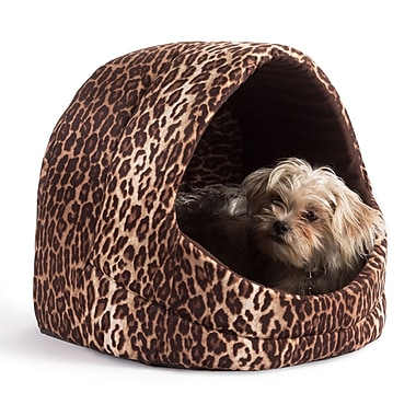Best Friends By Sheri Pet Cave Zoo Cat/Dog Bed; Brown Leopard Print