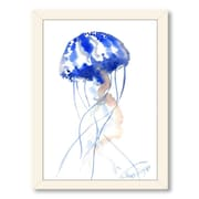 Americanflat Jelly Fish 2 by Suren Nersisyan Framed Painting Print; White