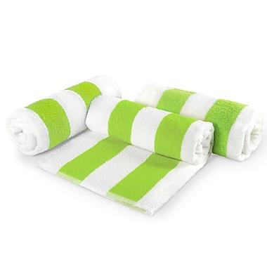 Crover Cabana Stripe Cotton 6 Piece Beach Towel Set; Green