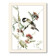 Americanflat Mountain Chickadee by Suren Nersisyan Framed Painting Print; White