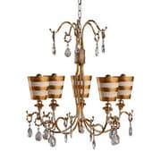 Flambeau Lighting Tivoli 5 Light Crystal Chandelier; Gold by