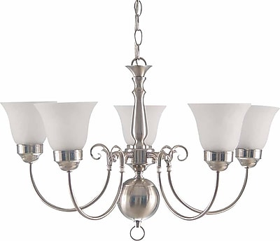 Aurora Lighting Compact Fluorescent Chandelier, Brushed Nickel (STL-VME335550)