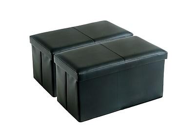 Aurora Lighting Milhall Faux Leather Storage Bench Black 1 STP-TLC3109178