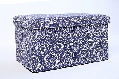 Aurora Lighting Fairton Fabric Storage Bench Blue