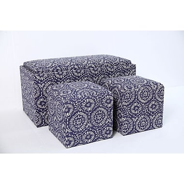 Aurora Lighting Molina Fabric Bench and Storage Ottoman Set Blue 1 STP-TLC3109253