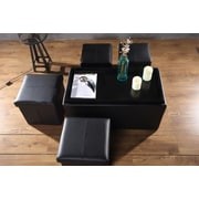 Aurora Lighting Correll Faux Leather Bench and Storage Ottoman Set Black 1 STP-TLC3109291