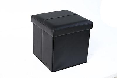 Aurora Lighting Seco Faux Leather Storage Ottoman Black 1 STP-TLC3109093