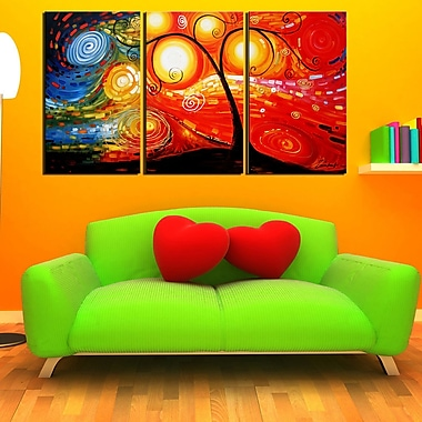 Designart Abstract Tree Hand Painted Canvas Art, 3 Piece, (OL103)