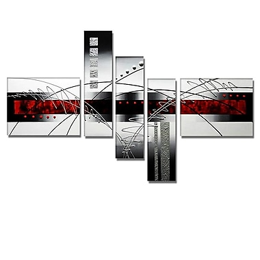 Designart Abstract Grey & Red Hand Painted Canvas Art, 5 Piece, (OL109)