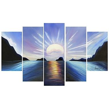 Designart – Toile peinte à la main, 5 panneaux, paysage marin bleu (OL119)