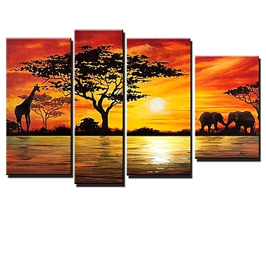 Designart African Sunset Oil Painting, (OL157)